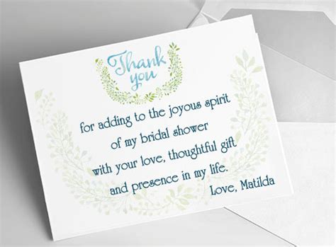 bridal shower thank you note wording gift card bridal shower thank you card ideas