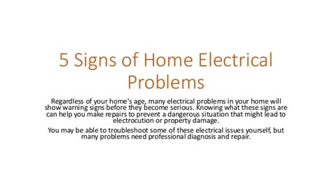 5 signs of home electrical problems