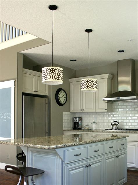 Island Kitchen Lighting Fixtures Customize Kitchen Lighting With Fabric Covered Drum Shades Hgtv