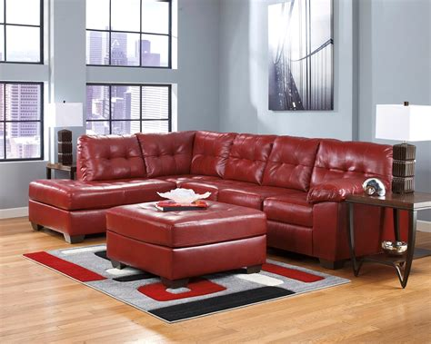 Soho Contemporary Red Leather Sectional Sofa W Left Chaise Contemporary Sectional Leather Sofa