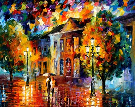 free painting no autumn day palette knife painting on canvas by