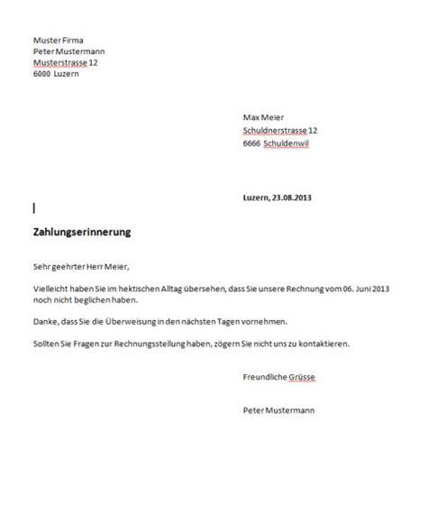 Freundliche Mahnung Muster Mahnung Vorlage Schweiz Muster Und Vorlagen Kostenlos