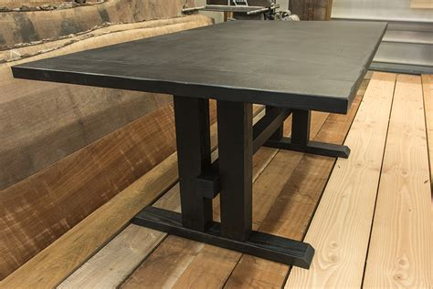 custom furniture dining table with a scorched