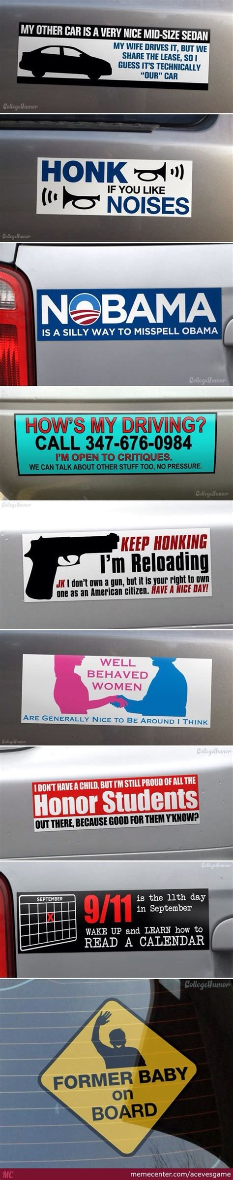 Car Memes Stickers - 9 interesting bumper stickers by acevesgame meme center