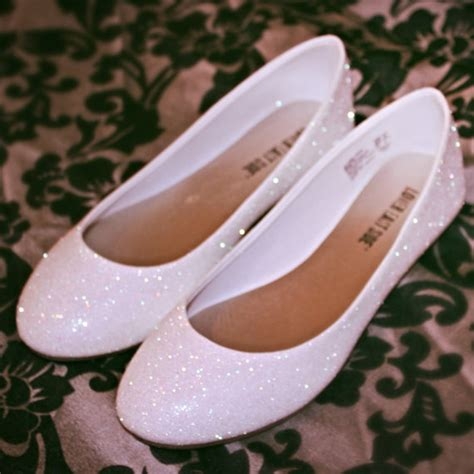 White Wedding Flats by White Glitter Bridal Shoes Wedding Flats