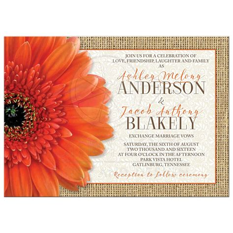 Orange Wedding Invitations by Rustic Orange Burlap Lace Wedding Invitation
