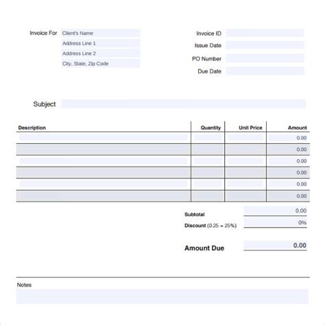 professional invoice templates 7 download free documents