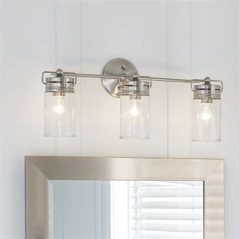 bathroom vanity lighting allen roth 3 light vallymede brushed nickel bathroom