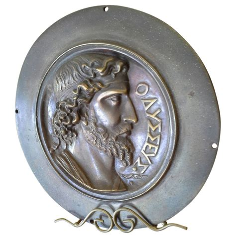 men hairstyle plaque greek bronze wall plaque or medallion depicting a greek