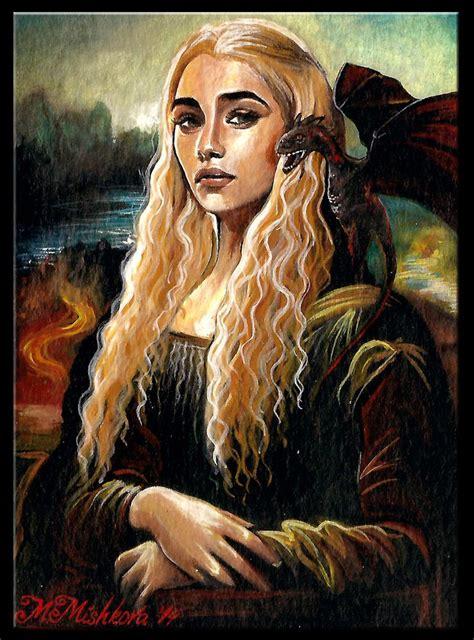 Beautiful Gamis Monalisa original aceo daenerys targaryen mona emilia clarke