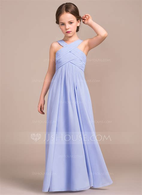 Junior Bridesmaid Dress by A Line Princess V Neck Floor Length Chiffon Junior