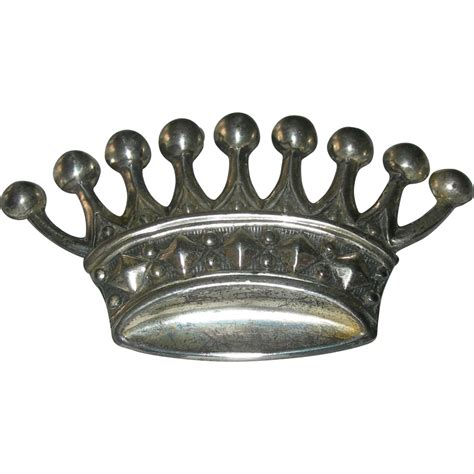 Silver Crown by Vintage European Sterling Silver Crown Brooch From