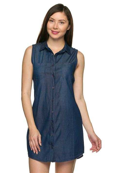 Sleeveless Dress Denim buttondown sleeveless denim shirt dress