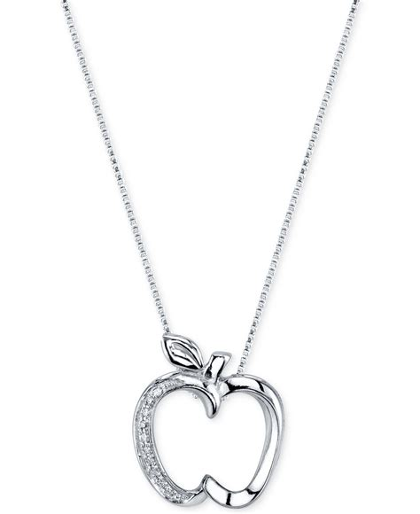 Apple Pendant Necklace disney accent apple pendant necklace in sterling
