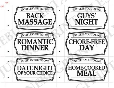 black and white printable love coupons printable love coupon book anniversary coupon gift for him