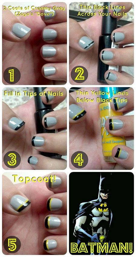 nail art batman tutorial very easy step by step batman nail art tutorials for