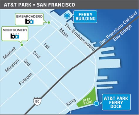 san francisco map at t park route san francisco bay ferry