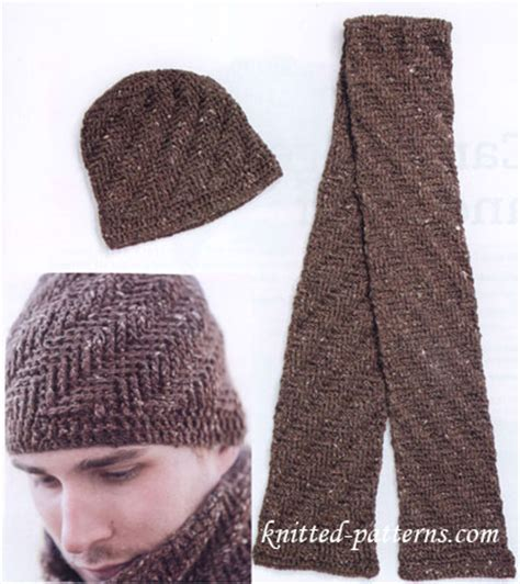 knitting pattern for mens scarf and hat free crochet men s hat and scarf patterns