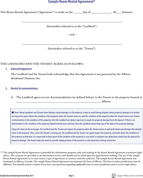 lease agreement template alberta alberta sle room rental agreement form for