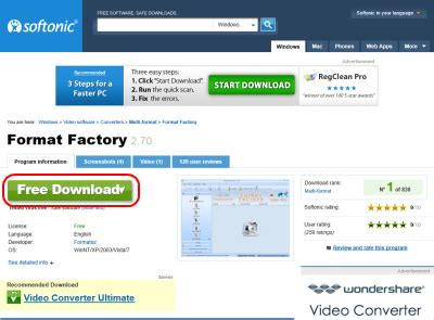 softonic downloader for format factory exe format factory の使い方