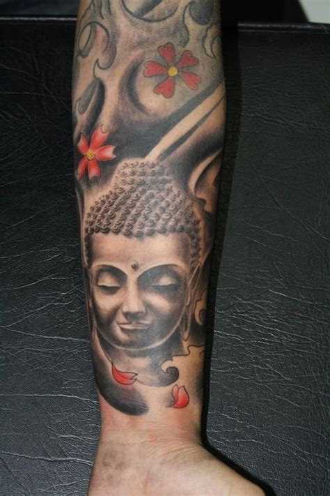 buddhist tattoo designs men realistic grey ink buddha