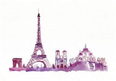 watercolor travel illustration eiffel tower original painting watercolor abstract