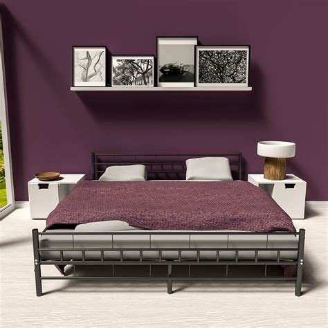 Modern Metal Bed Frames Metal Bed Frame King Size Modern Bedroom 180x200cm Black Slatted Frame Ebay