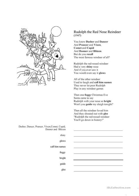 printable lyrics to rudolph the red nosed reindeer rudolph the red nosed reindeer song lyrics worksheet