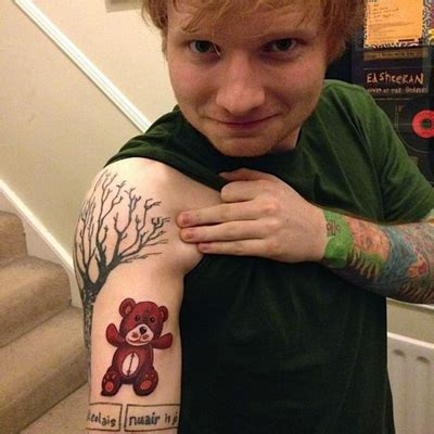 Ed Sheeran Teddy Tattoo Meaning | ed sheeran tattoos celebritiestattooed com