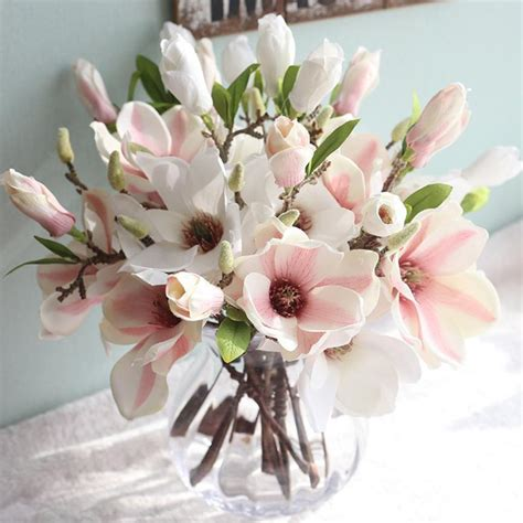New Canula Flower Silk Leaf Artificial Home New Qualified Artificial Flowers Leaf Magnolia Floral