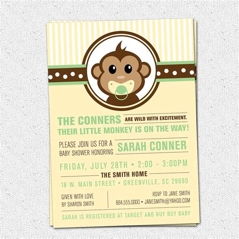 monkey templates for baby shower invites free little monkey baby shower invitation printable modern