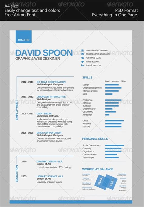 1 Page Resume Templates by Awesome Resume Cv Templates 56pixels