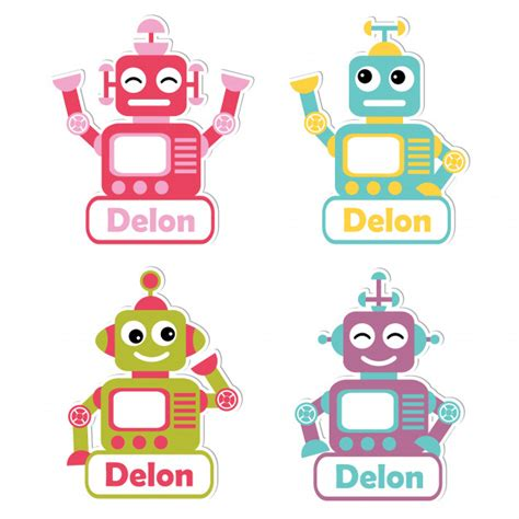 printable robot name tags illustration with colorful robot toys suitable for kid