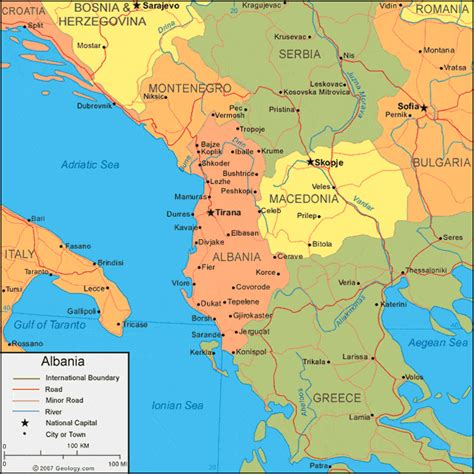 where is albania on the map albania map and satellite image