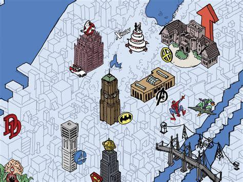 map   york city  geeks  superheroes hang