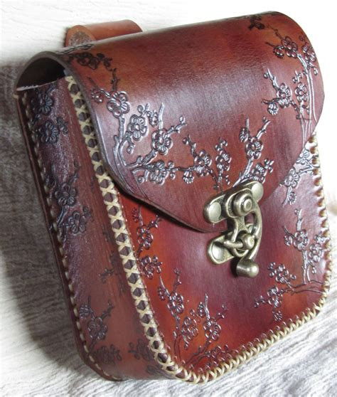 leather belt pouch brown floral by