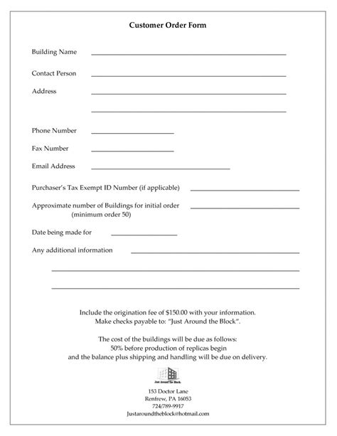 customer information and order form just around the block