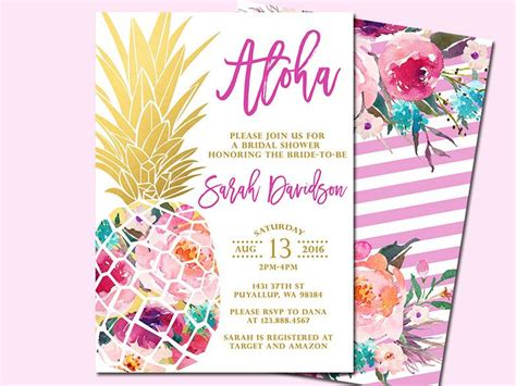 luau wedding invitations pineapple bridal shower invitation tropical aloha bridal