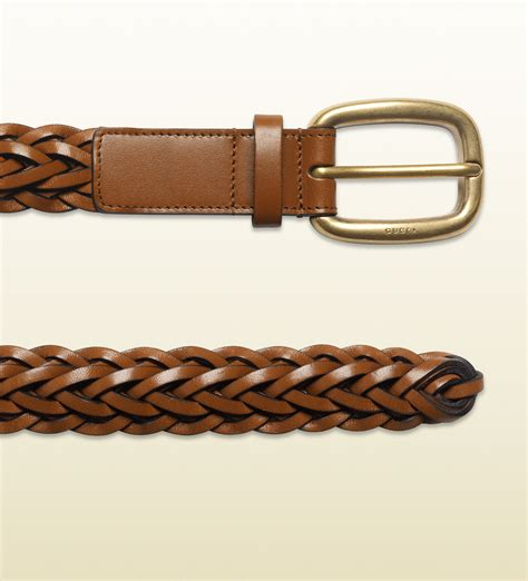 Gucci Color Center Leather Brown lyst gucci braided leather belt in brown