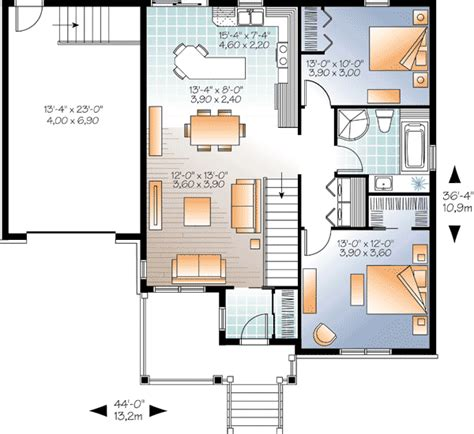 two bedroom bungalow house plans weathertight 2 bedroom bungalow 22331dr 1st floor master suite cad available