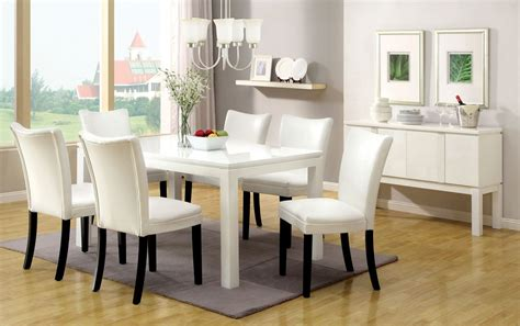 White Gloss Dining Table Set 7pc Lamia White High Gloss Lacquer Dining Table Set 6 White Chairs