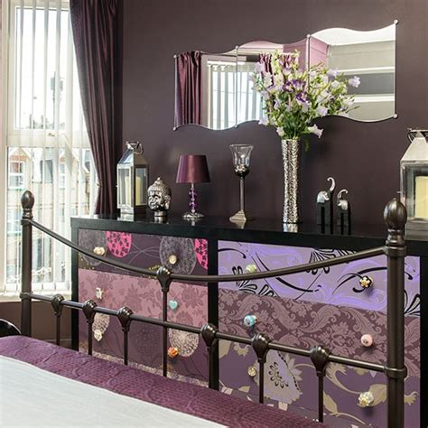 purple boudoir bedroom brown bedroom with patterned storage decorating