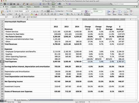 pro forma financial statements template initial income statement pro forma exle