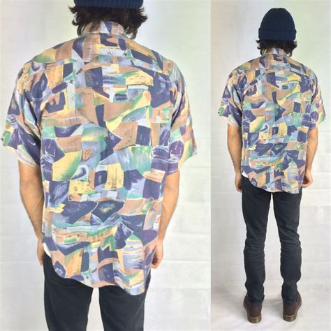 80s abstract pattern shirt vintage pastel colour abstract shirt short sleeve retruly