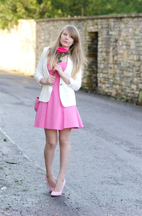 pink dress for valentines day pink dress pink heels white blazer s