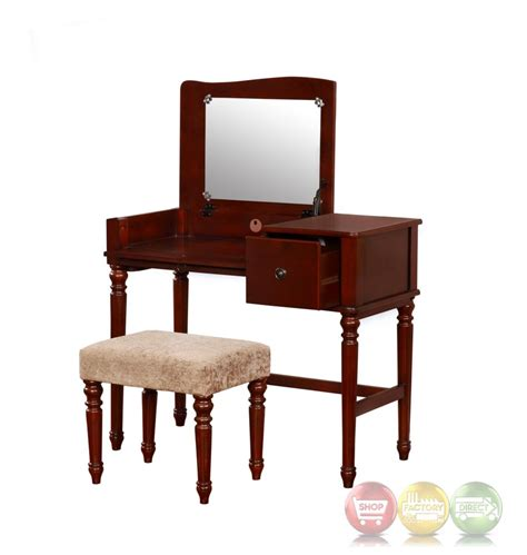 vanity set bedroom wyndham walnut bedroom vanity set with flip top mirror