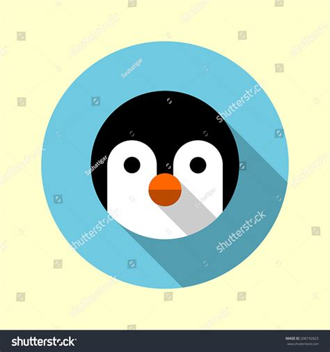 design icon cute cute little penguin icon flat long shadow design animal