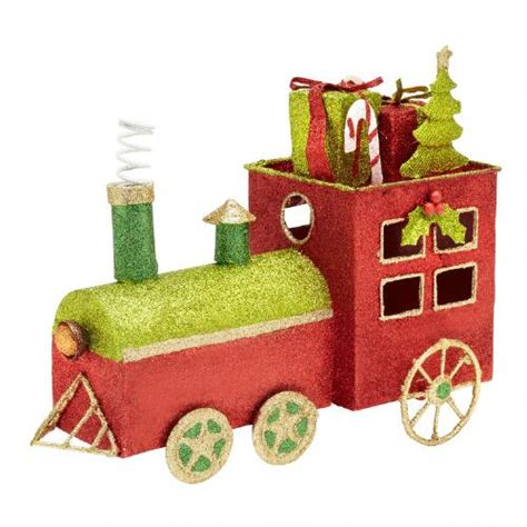 glittered metal christmas train decor christmas tree