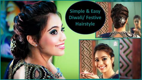 indian hairstyles for diwali simple easy diwali festive party updo hairstyle english