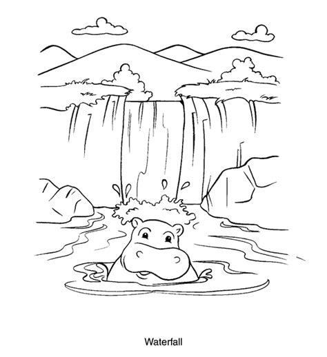 waterfall coloring page color book